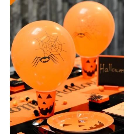 Ballon Halloween araignée 23 cm les 8