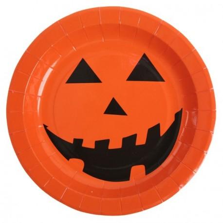 Assiette citrouille Halloween carton orange noir les 10