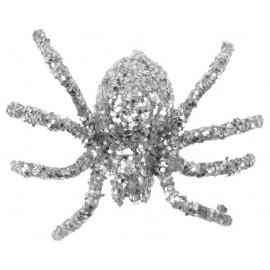 Araignée pailletée argent 6.5 cm les 6