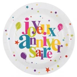 Assiettes Carton Joyeux Anniversaire festif 22.5 cm les 10