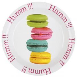 Assiettes Macarons carton blanc 22.5 cm les 10