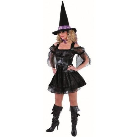 Déguisement sorcière femme luxe noire sexy