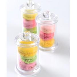 Mini bonbonnière à macarons transparente les 20
