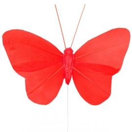 Papillons plumes rouges sur tige les 6