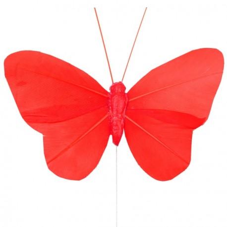 Papillon plume rouge sur tige les 6