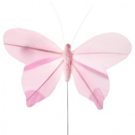 Papillons plumes roses sur tige les 6