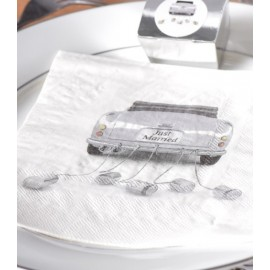 Serviette de table car just married blanc papier les 10