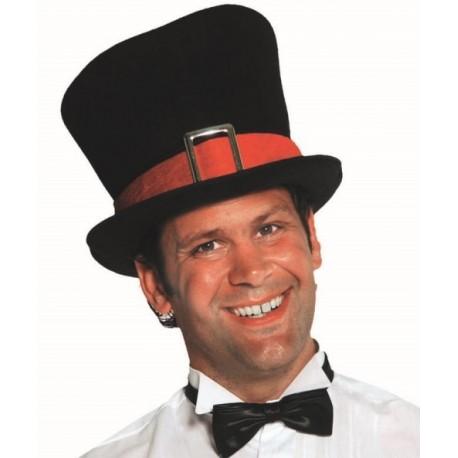 Chapeau haut de forme noir homme luxe avec ruban rouge