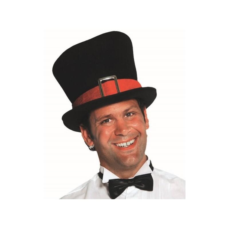 chapeau haut de forme noir homme luxe avec ruban rouge. Black Bedroom Furniture Sets. Home Design Ideas