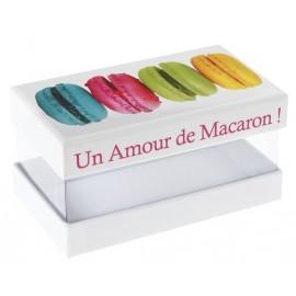 Boîte macarons couleur en carton pour 4 macarons les 20