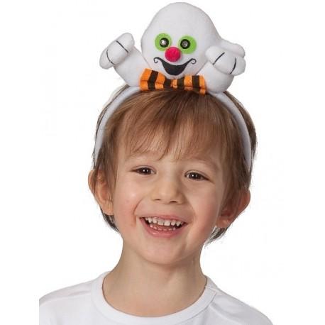 Serre-tête fantôme blanc enfant avec yeux verts clignotants
