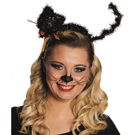 Serre-tête chat noir Halloween adulte