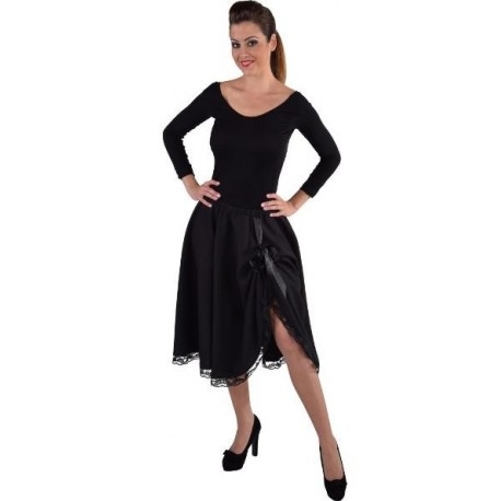 Jupe mi-longue noire avec dentelle femme luxe