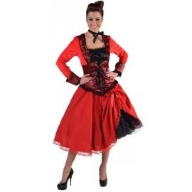 Jupe mi-longue rouge avec dentelle femme luxe