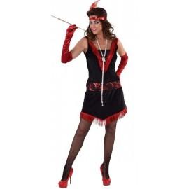 Déguisement charleston femme noir rouge luxe
