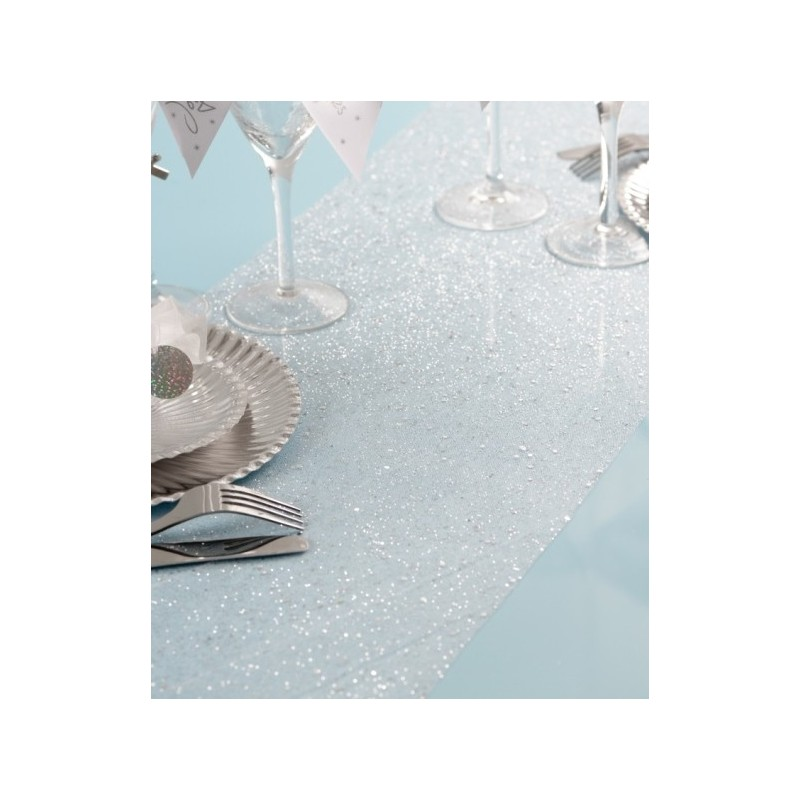 Chemin de table tulle or paillet for Chemin de table or