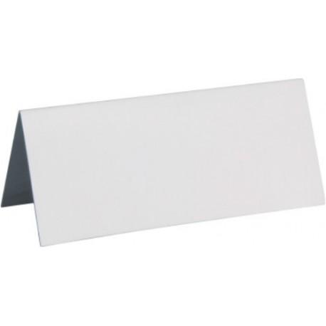 Marque place rectangle blanc carton les 10