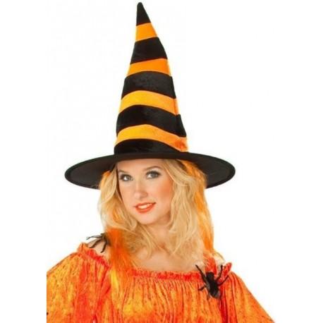 Chapeau sorcière avec cheveux orange femme