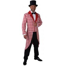 Déguisement queue de pie damier rouge blanc homme luxe