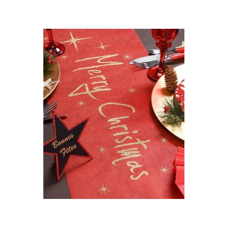 Chemin de table no l rouge or merry christmas chemin de - Chemin de table pour noel ...