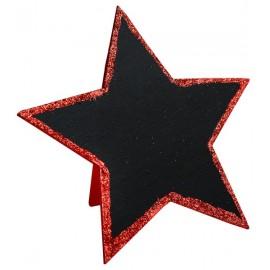 Marque table étoile pailletée rouge 15 cm