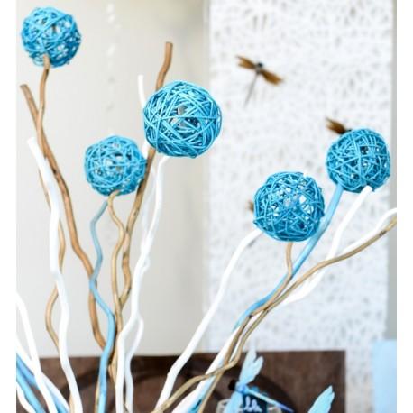 Boule rotin bleu turquoise en 3 tailles les 10