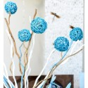 Boules rotin bleu turquoise en 3 tailles les 10