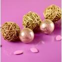 Boules rotin paillettes or diamètres assortis les 10