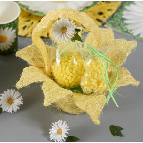Panier en fleur sisal jaune