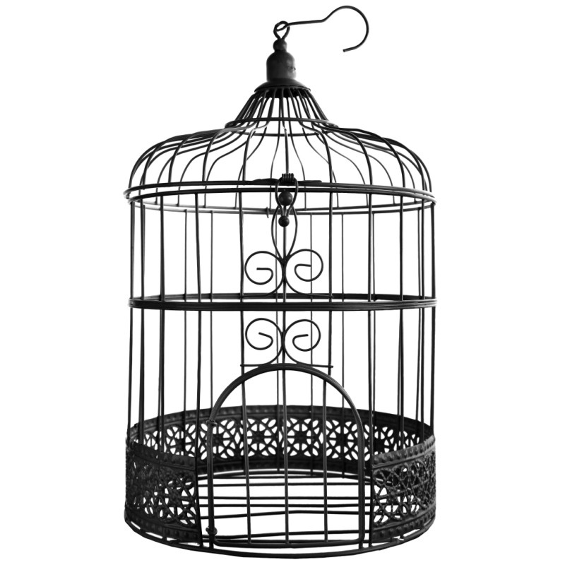 tirelire cage oiseaux noire 31 cm. Black Bedroom Furniture Sets. Home Design Ideas