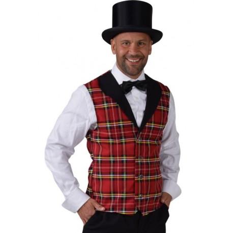 Déguisement gilet écossais rouge homme luxe