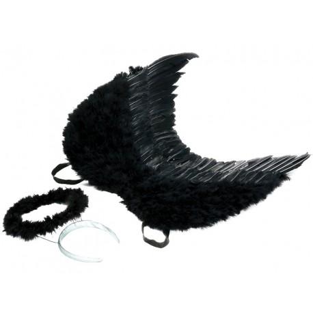 Ailes d'ange plumes noires avec auréole noire adulte 53 x 60 cm