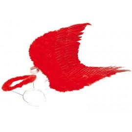 Ailes d'ange plumes rouges avec auréole rouge adulte 53 x 60 cm