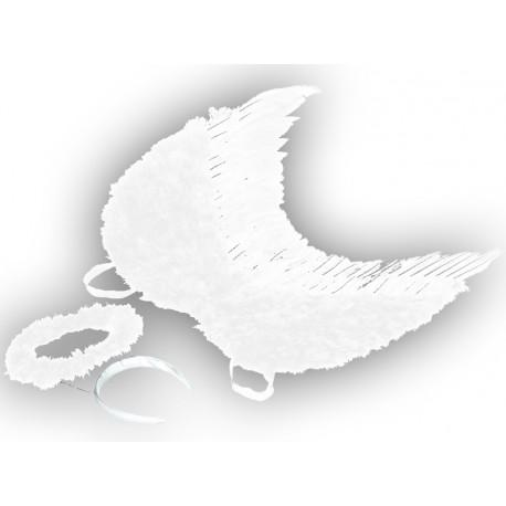 Ailes d'ange plumes blanches avec auréole blanche adulte 53 x 60 cm