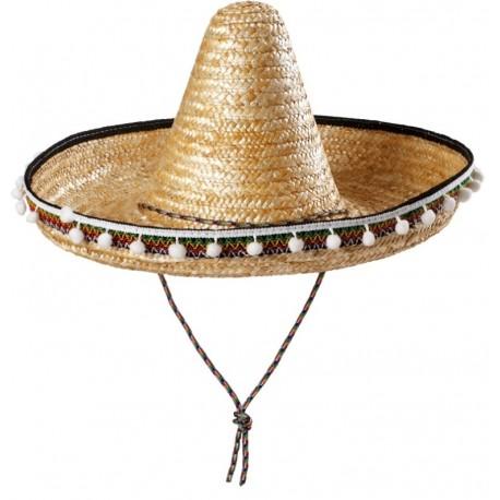 Chapeau mexicain Sombrero en paille adulte