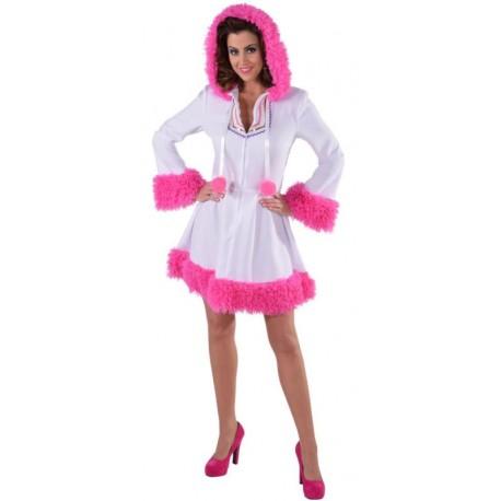 Déguisement esquimau blanc et pink femme luxe
