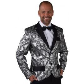 Déguisement veste brocart argent homme luxe