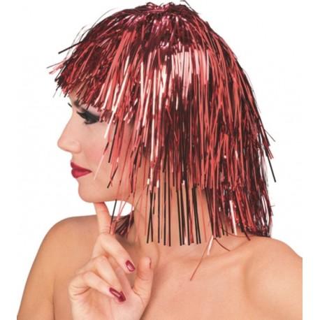 Perruque disco lamée rouge