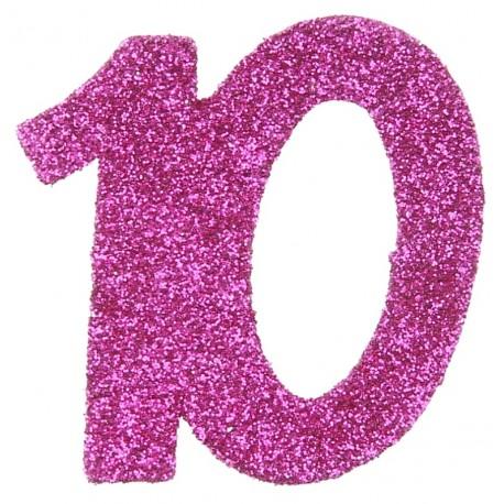 Confettis anniversaire 10 ans fuchsia pailleté les 6