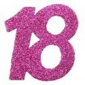 Confettis anniversaire 18 ans fuchsia pailleté les 6
