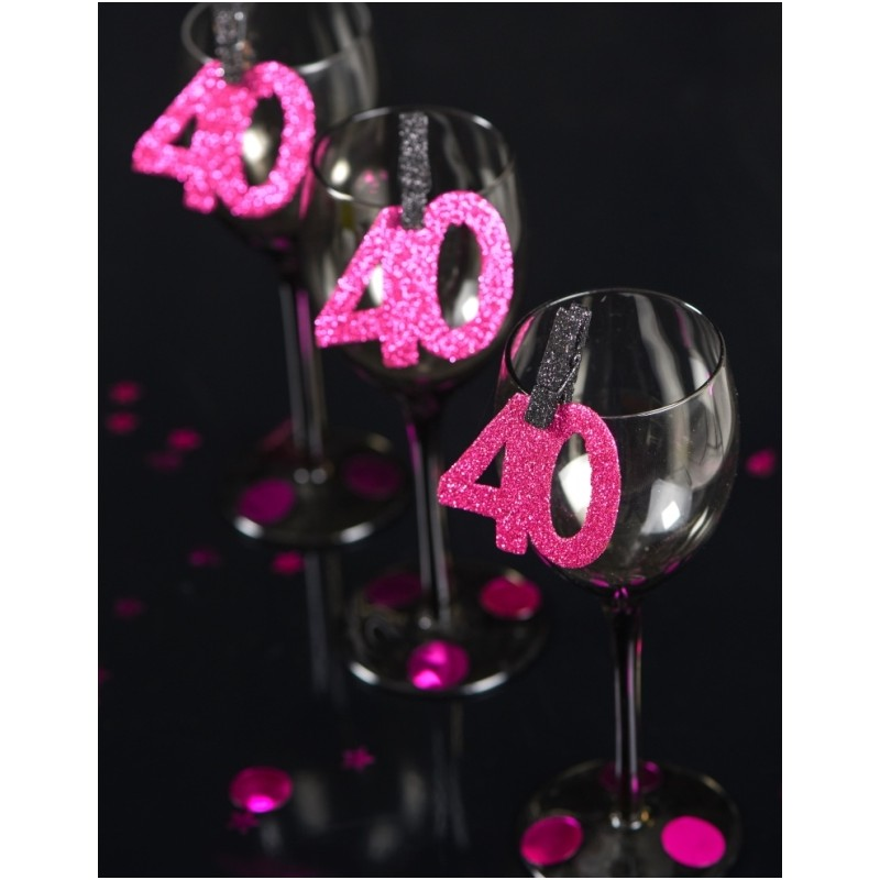 confettis anniversaire 40 ans fuchsia paillet les 6 confettis de table. Black Bedroom Furniture Sets. Home Design Ideas