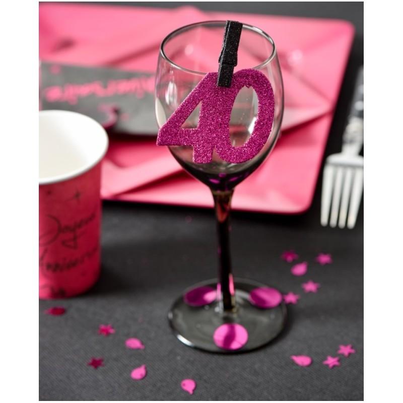 Confettis anniversaire 40 ans fuchsia paillet les 6 - Decoration de table anniversaire 40 ans ...