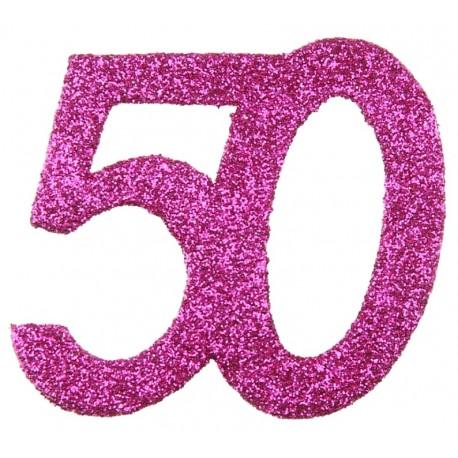 Confettis anniversaire 50 ans fuchsia pailleté les 6