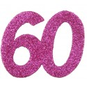 Confettis anniversaire 60 ans fuchsia pailleté les 6