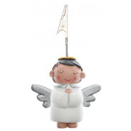Marque place ange blanc figurine avec pince 11 x 7 cm