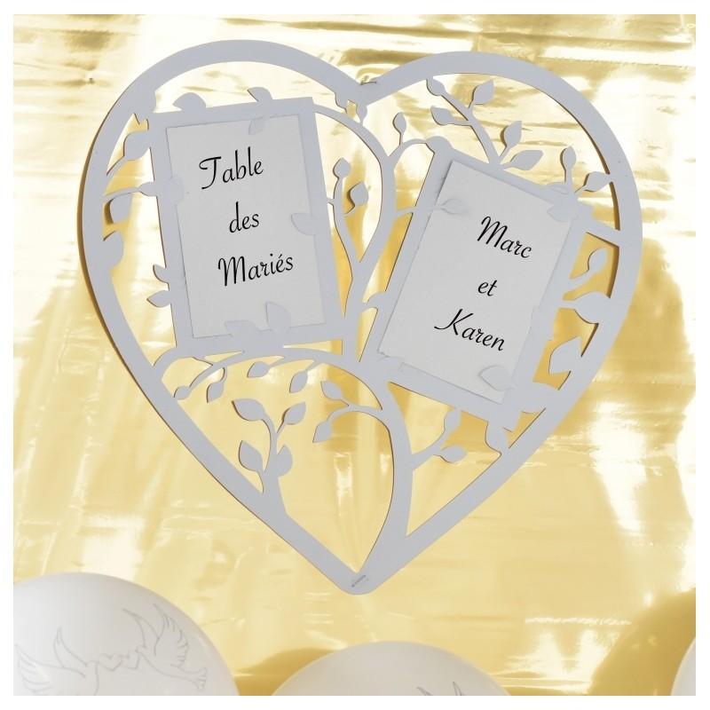 Plan de table coeur blanc achat plan de table mariage f tes - Plan de table coeur mariage ...