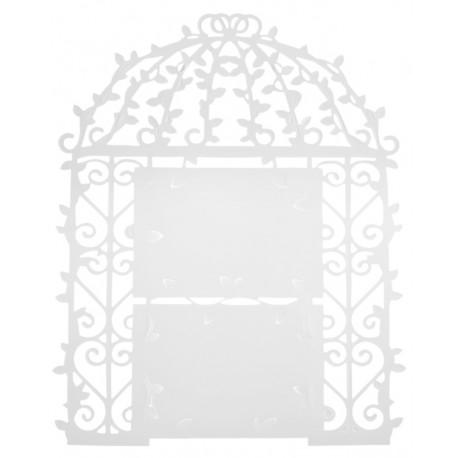 Plan de table cage à oiseaux blanche