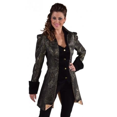 Déguisement marquise veste brocart noir femme luxe