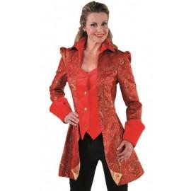 Déguisement marquise veste brocart rouge femme luxe