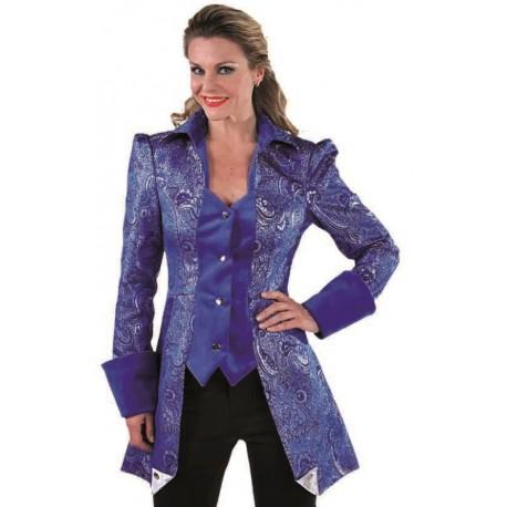 Déguisement marquise veste brocart bleu cobalt femme luxe